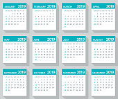 2019 Calendar Leaves Flat Set - Vector Illustration