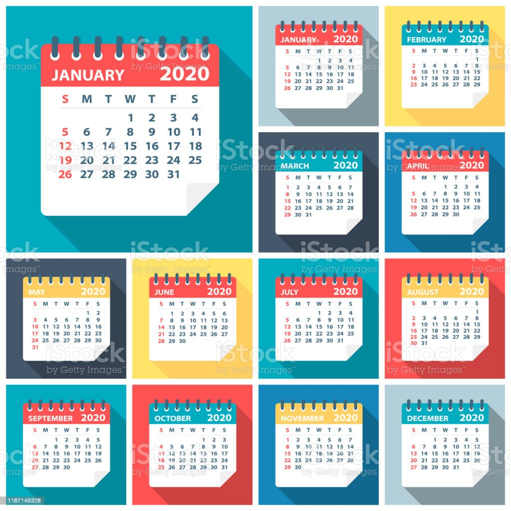 2020 kalender verlaat platte set-vector illustratie - Royalty-free 2020 vectorkunst