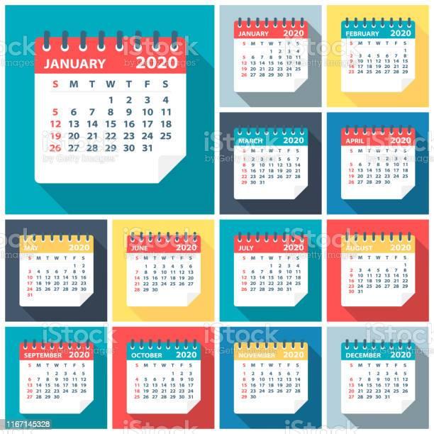 2020 Kalender Verlaat Platte Setvector Illustratie Stockvectorkunst en meer beelden van 2020