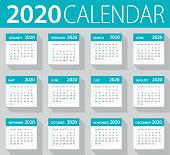 2020 Calendar Leaves Set - Illustration
