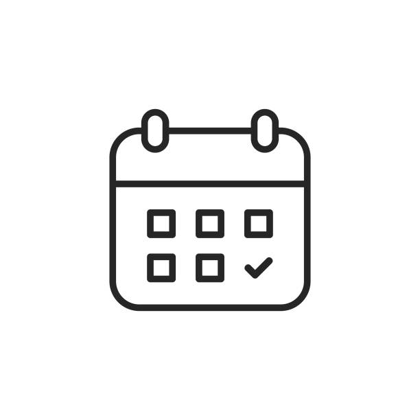 Calendar Line Icon. Editable Stroke. Pixel Perfect. For Mobile and Web. vector art illustration