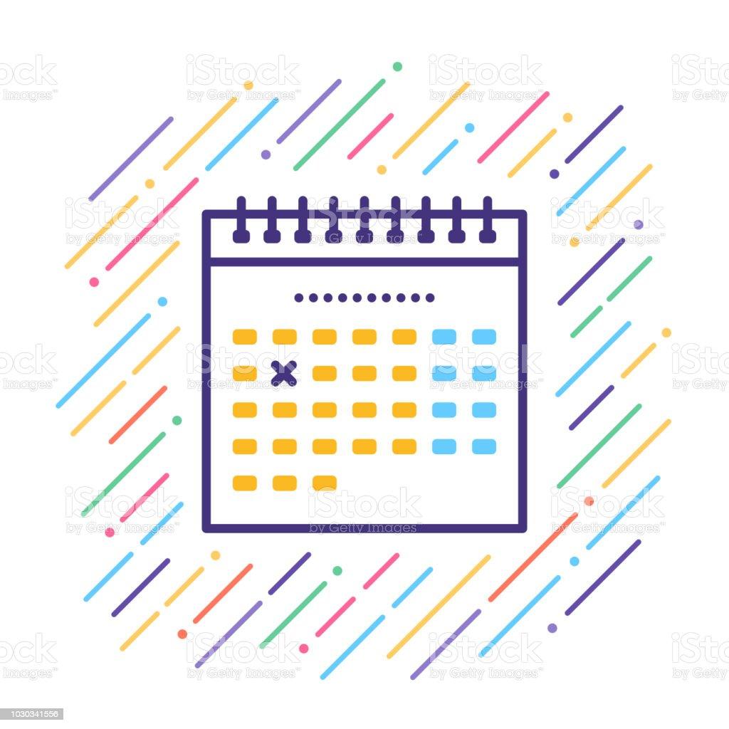 Calendar Line Icon vector art illustration