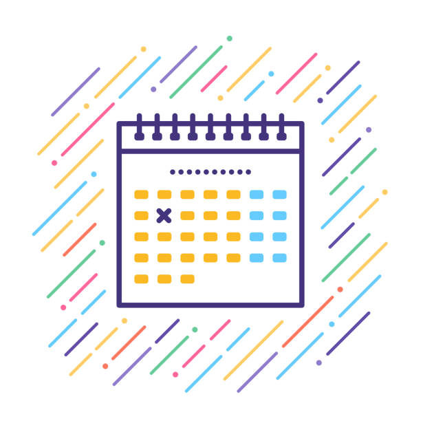 calendar line icon - abstract calendar stock illustrations, clip art, cartoons, & icons