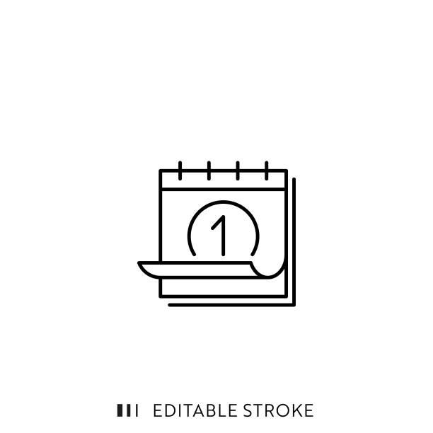 illustrations, cliparts, dessins animés et icônes de icône de ligne de calendrier avec course modifiable et pixel parfait. - calendrier