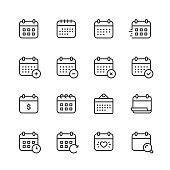 16 Calendar Outline Icons.