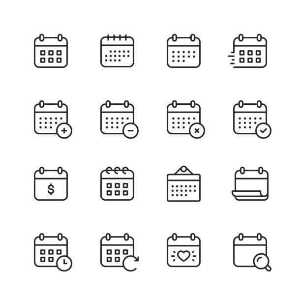 kalender-linien-symbole. bearbeitbarer strich. pixel perfekt. für mobile und web. enthält symbole wie kalender, termin, zahlung, feiertag, uhr. - kalender icon stock-grafiken, -clipart, -cartoons und -symbole