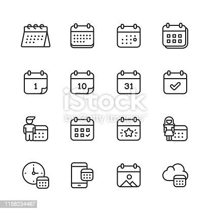16 Calendar Outline Icons.