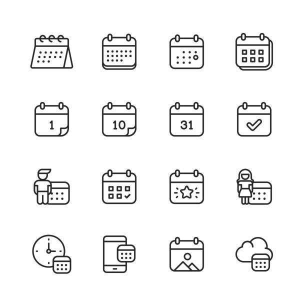 Calendar Line Icons. Editable Stroke. Pixel Perfect. For Mobile and Web. Contains such icons as Calendar, Appointment, Payment, Holiday, Clock. 16 Calendar Outline Icons. agenda stock illustrations