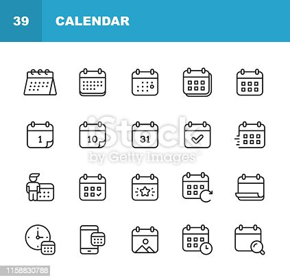 istock Calendar Line Icons. Editable Stroke. Pixel Perfect. For Mobile and Web. Contains such icons as Calendar, Appointment, Holiday, Clock, Time, Deadline. 1158830788