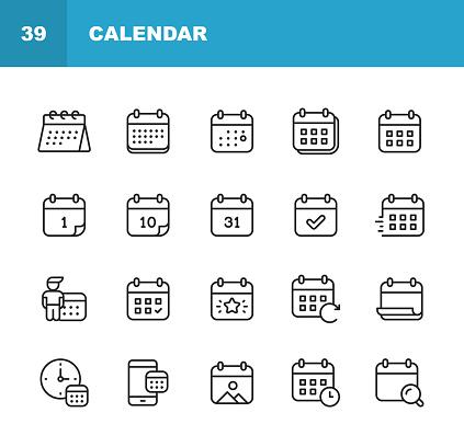 20 Calendar Outline Icons.