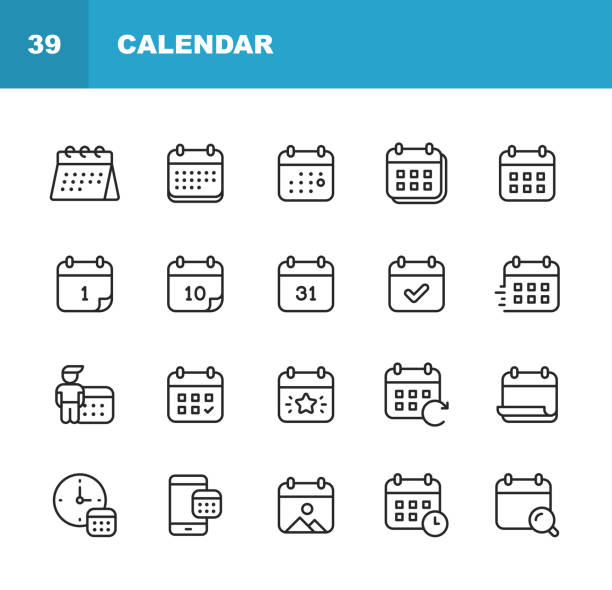 Calendar Line Icons. Editable Stroke. Pixel Perfect. For Mobile and Web. Contains such icons as Calendar, Appointment, Holiday, Clock, Time, Deadline. 20 Calendar Outline Icons. agenda stock illustrations