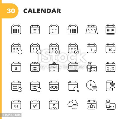 30 Calendar Outline Icons.