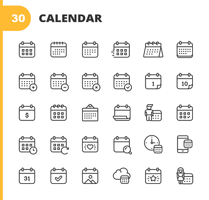 Calendar Line Icons. Editable Stroke. Pixel Perfect. For Mobile and Web. Contains such icons as Calendar, Appointment, Holiday, Clock, Time, Deadline.