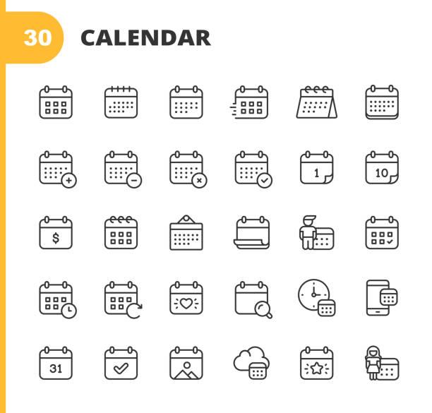 ikony linii kalendarza. edytowalny obrys. pixel perfect. dla urządzeń mobilnych i sieci web. zawiera takie ikony jak kalendarz, termin, święto, zegar, czas, termin. - czas stock illustrations