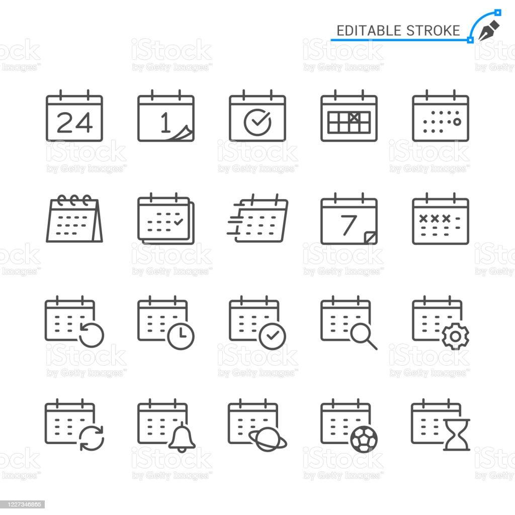 Calendar line icons. Editable stroke. Pixel perfect. - Векторная графика Editable Stroke роялти-фри