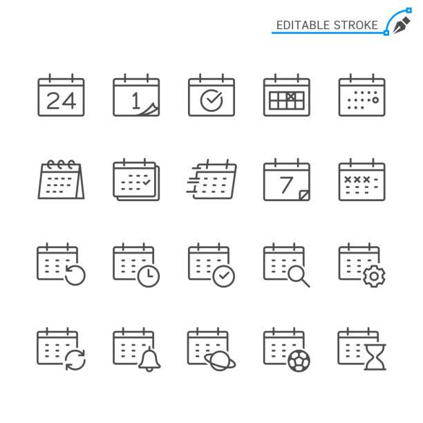 illustrazioni stock, clip art, cartoni animati e icone di tendenza di icone delle linee del calendario. tratto modificabile. pixel perfetto. - evento