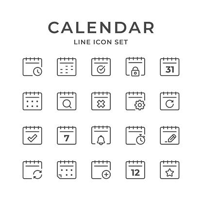 Calendar Line Icons. Editable Stroke. Pixel Perfect.