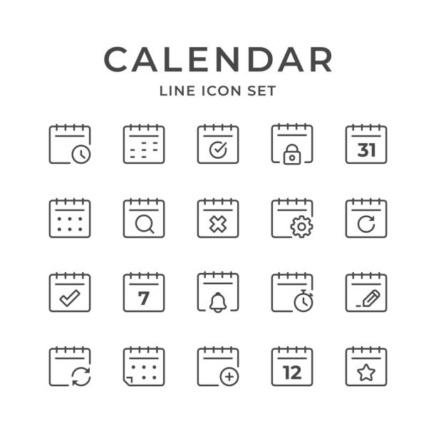 Calendar Line Icons. Editable Stroke. Pixel Perfect. Calendar Vector Icons. Adjust stroke weight - Expand to any size - Change to any color holiday calendars stock illustrations