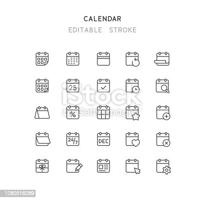 Set of calendar line vector icons. Editable stoke.