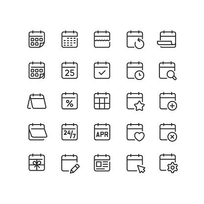 Calendar Line Icons Editable Stroke