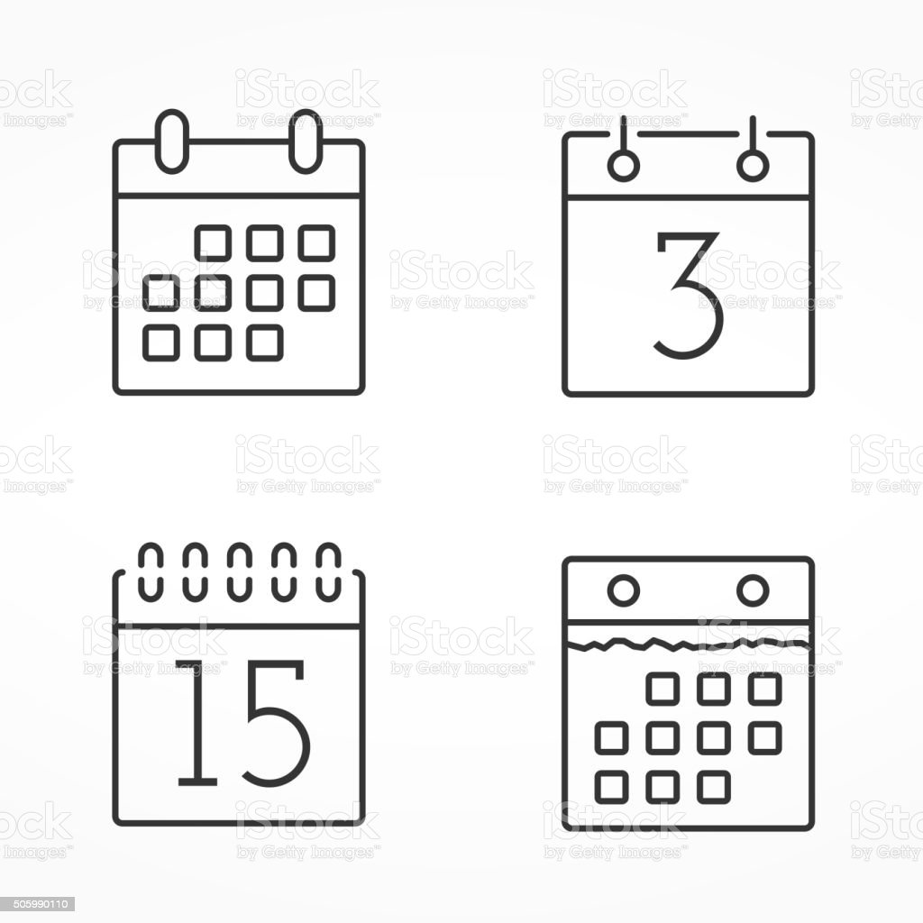 Calendar Line Icons vector art illustration