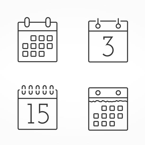 kalender linie icons - monatskalender stock-grafiken, -clipart, -cartoons und -symbole