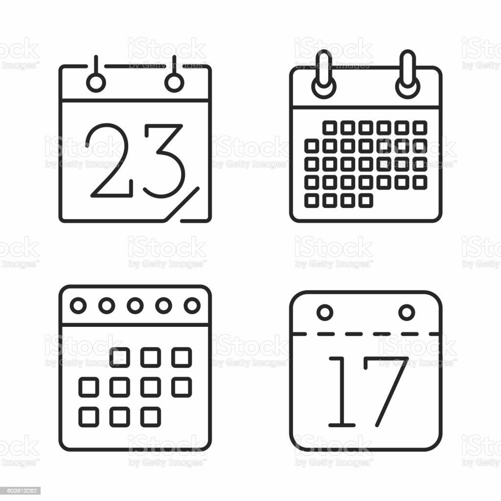 Calendar Line Icons vector art illustration