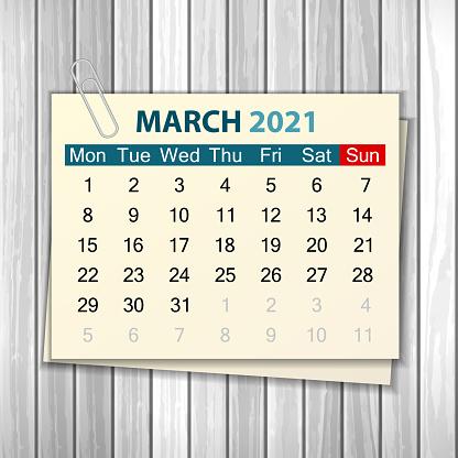 Ilustración de Calendario Marzo 2021 Sobre Madera y más Vectores Libres de  Derechos de 2021 - iStock
