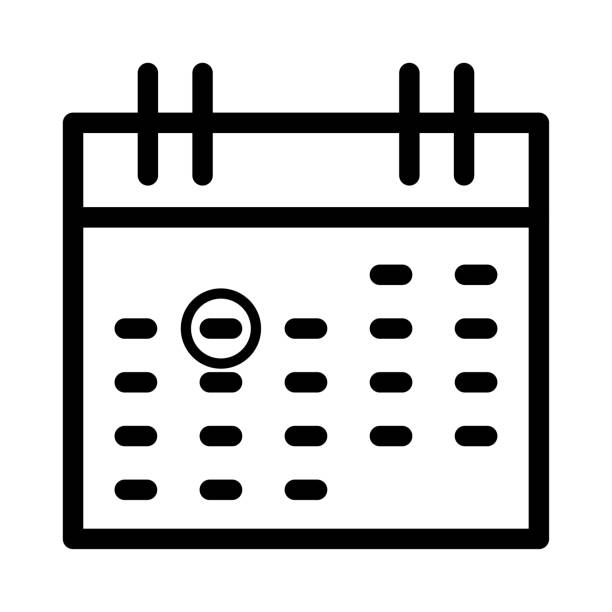 calendar mark thin line vector icon - save the date calendar stock illustrations, clip art, cartoons, & icons