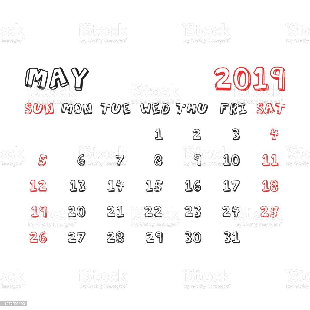 Calendario Mayo2019.Ilustracion De Calendario Mayo 2019 Ano En Estilo De Historieta