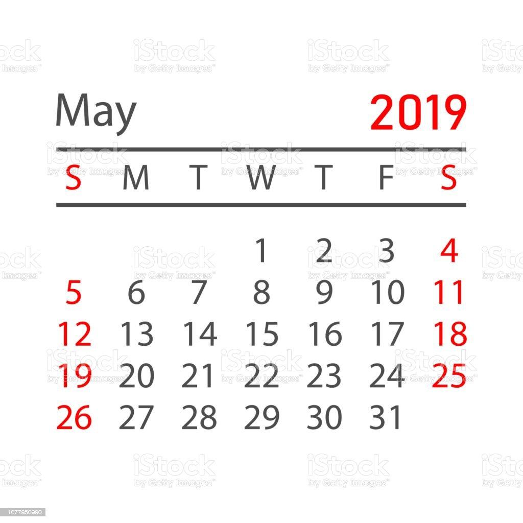 Calendrier Mai2019.Calendrier Mai 2019 Annee Dans Un Style Simple Modele De