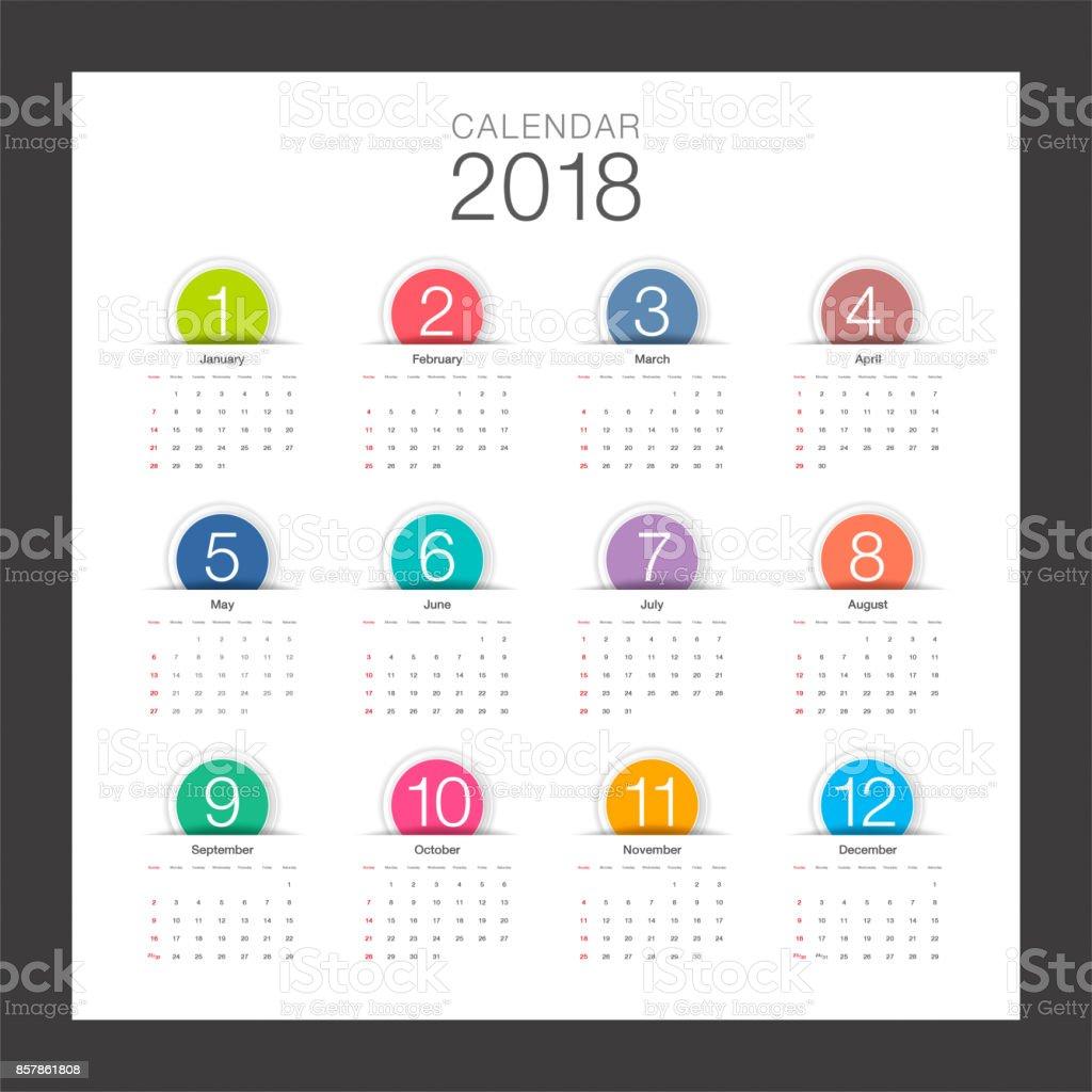 2018 Calendar. Minimal desk calendar, colorful button and modern design template. Week starts Sunday. Vector illustration. vector art illustration