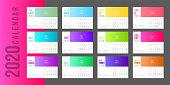 2020 Calendar Minimal Gradient template. Simple Colorful minimal elegant desk calendar