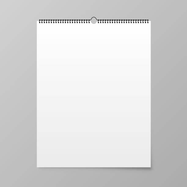 kalender-mock-up. kalender hängt an der wand. vektor - kalendervorlage stock-grafiken, -clipart, -cartoons und -symbole