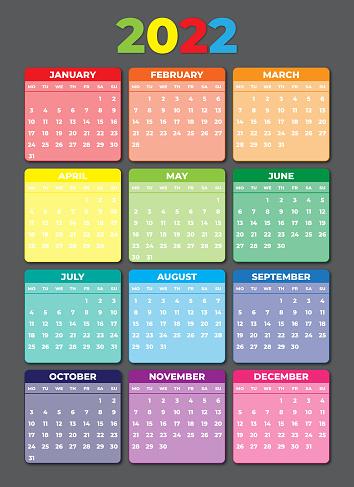 2022 Calendar Monday Start