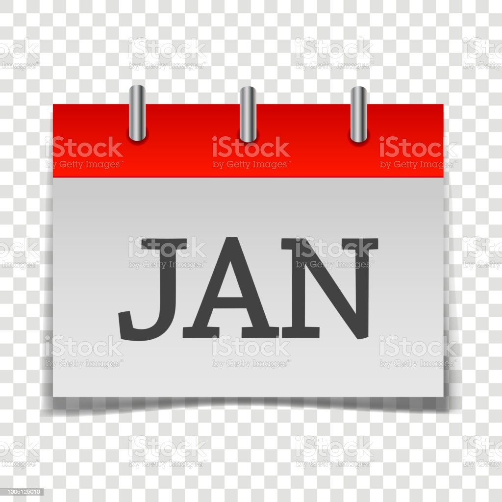 Calendar Month January Icon On Grey And Red Color On Transparent ...