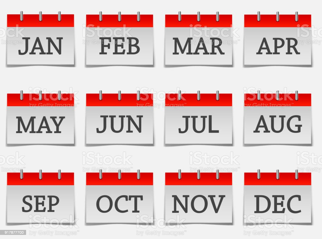 Calendar Month Set Icon On Grey Color Stock Illustration