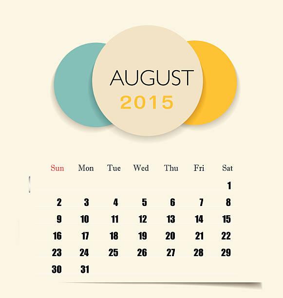illustrations, cliparts, dessins animés et icônes de calendrier 2015, modèle de calendrier mensuel pour le mois d'août. - infographie processus
