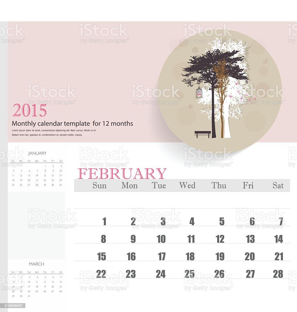 2015 Calendar Monthly Calendar Template For February Stock Vector
