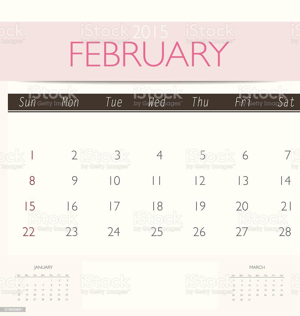 2015 calendar, monthly calendar template for February. vector art illustration