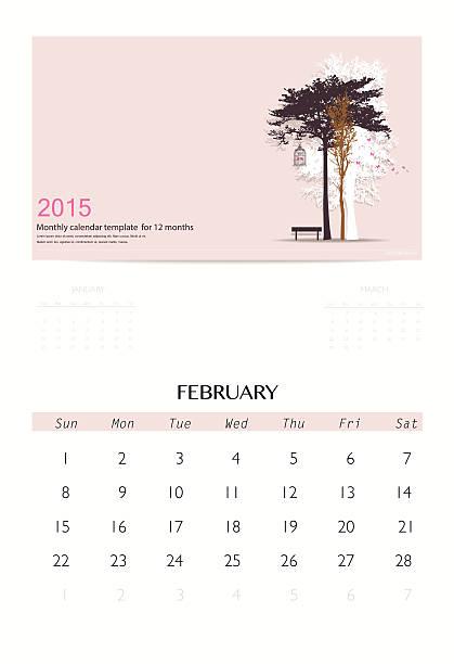 illustrations, cliparts, dessins animés et icônes de calendrier 2015, modèle de calendrier mensuel pour février. - infographie processus