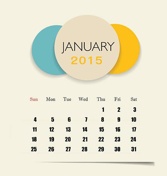 2015 Kalender Kalender Vorlage für Januar. – Vektorgrafik