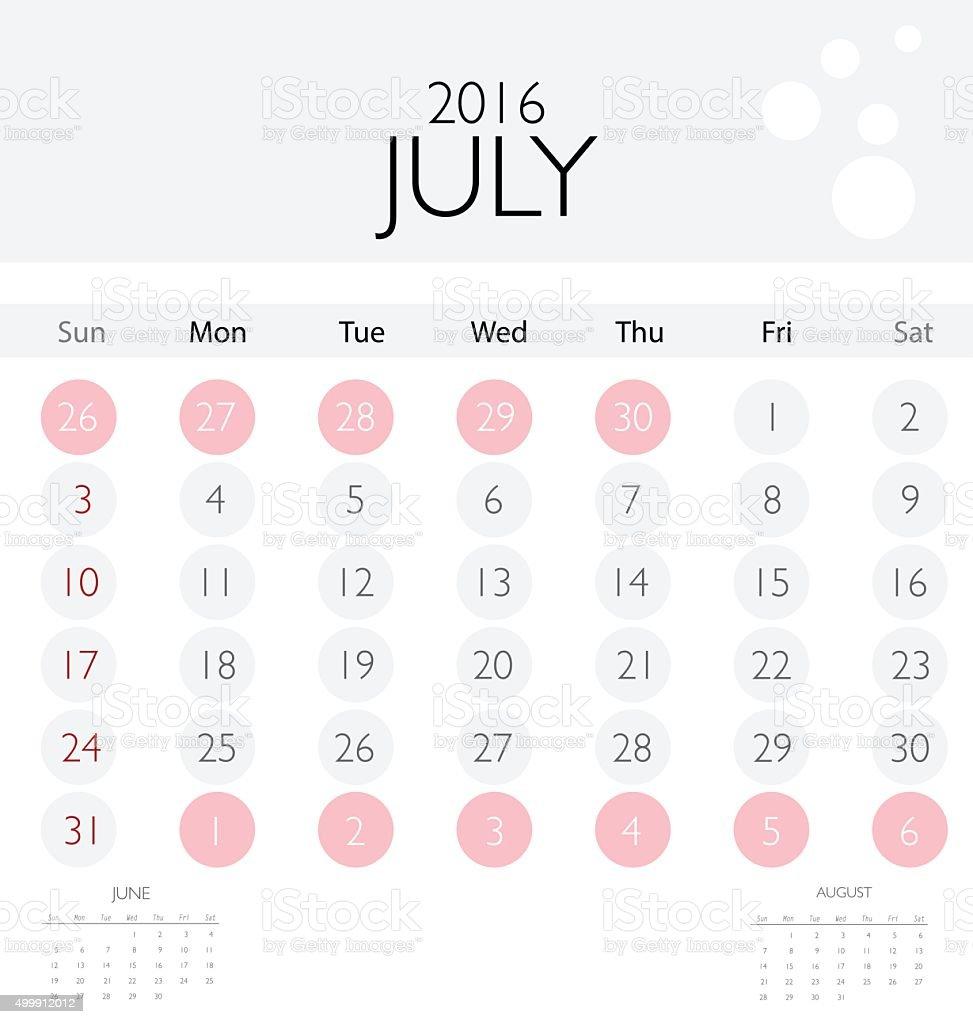 2016 Kalender Kalender Vorlage Für Den Monat Juli An Stock Vektor ...