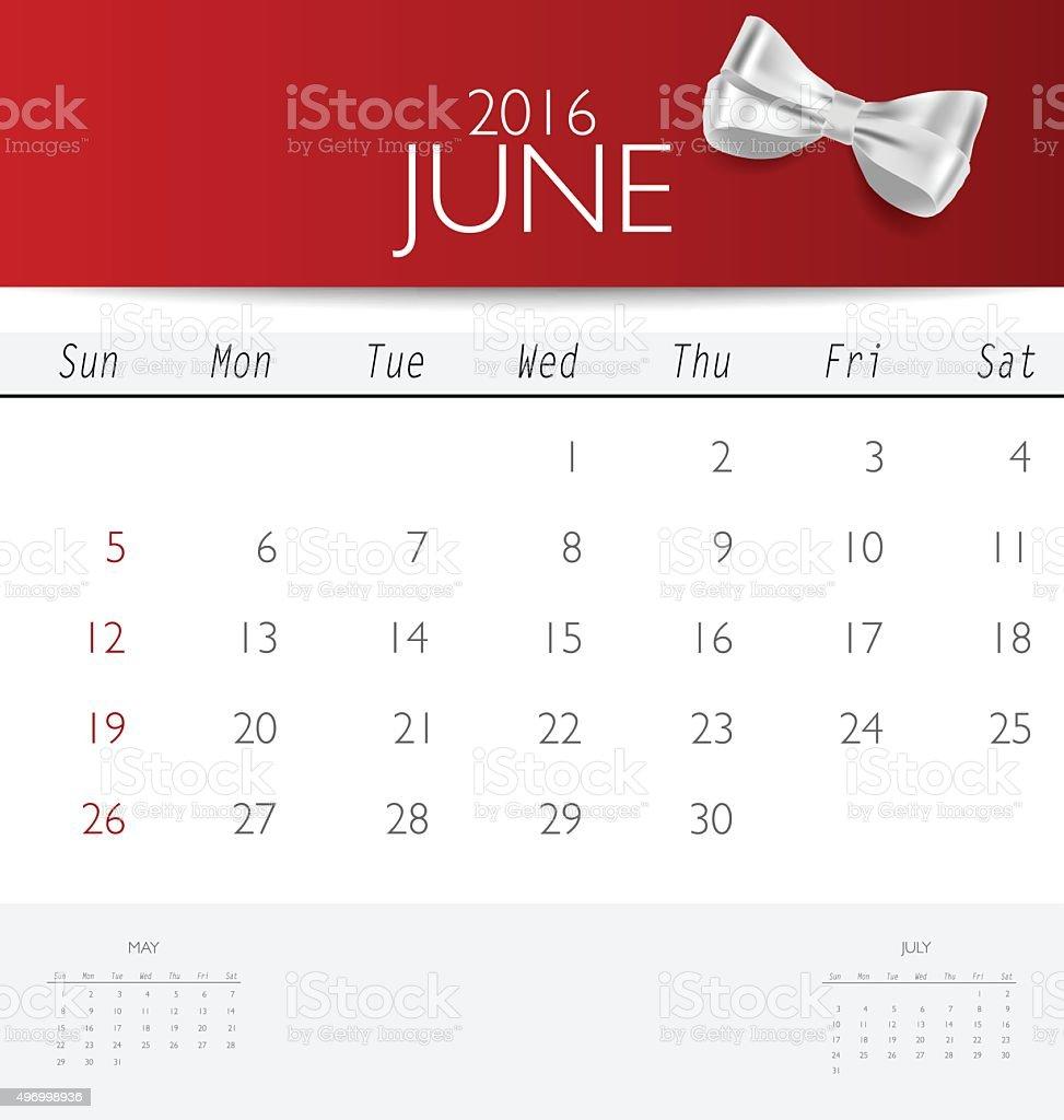 Calendario Mese Giugno.2016 Calendario Mensile Di Modello Di Calendari Per Il Mese
