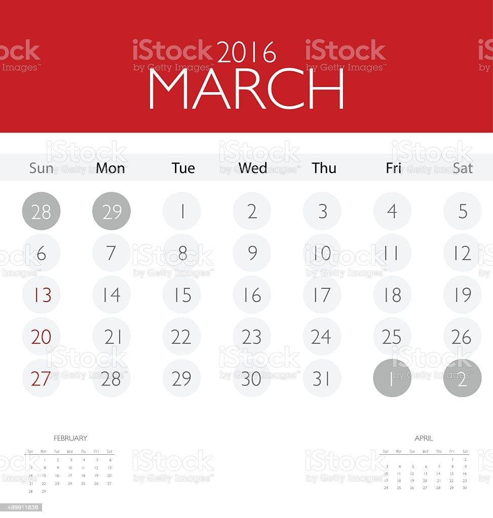 2016 Calendar Monthly Calendar Template For March Stock Vector Art