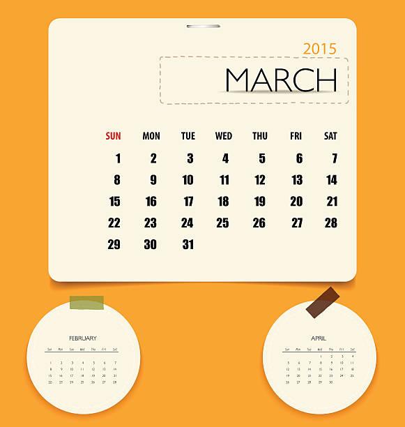 illustrations, cliparts, dessins animés et icônes de calendrier 2015, modèle de calendrier mensuel pour le mois de mars. - infographie processus