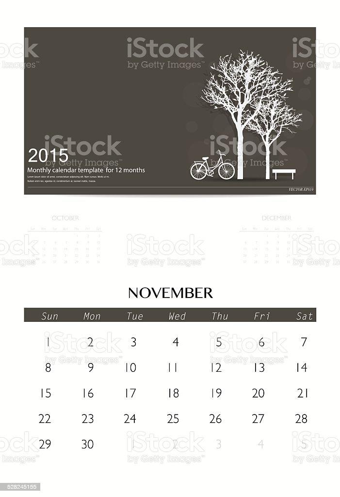 2015 Calendar Monthly Calendar Template For November Stock Vector