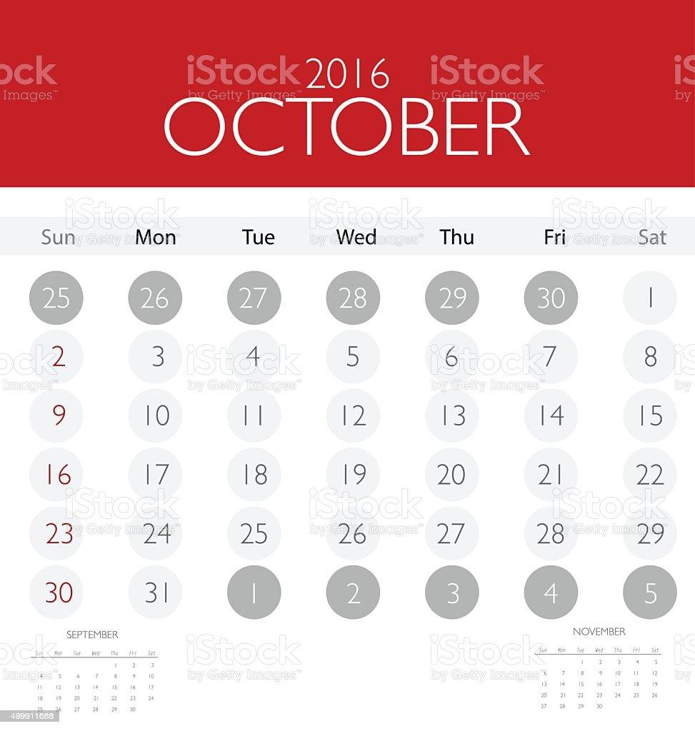 2016 calendar, monthly calendar template for October. vector art illustration