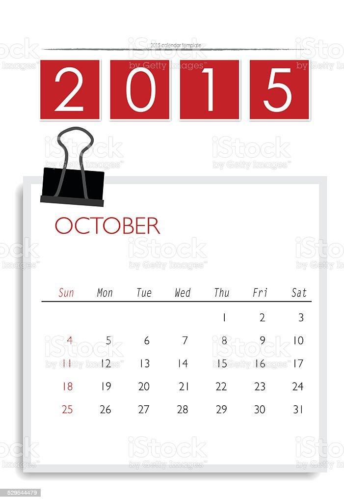 2015 Calendar Monthly Calendar Template For October Stock Vector Art