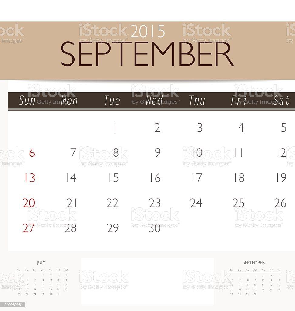 2015 Calendar Monthly Calendar Template For September Stock Vector
